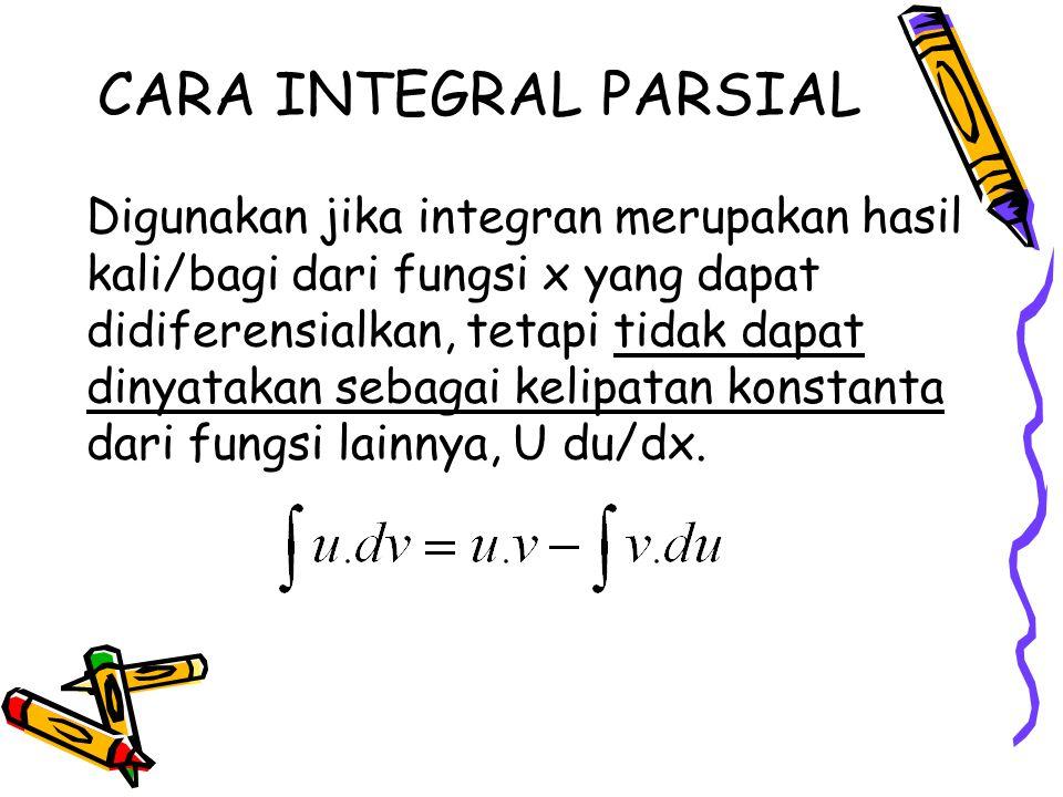 CARA INTEGRAL PARSIAL Digunakan jika integran merupakan hasil kali/bagi dari fungsi x yang dapat didiferensialkan, tetapi tidak dapat dinyatakan sebag