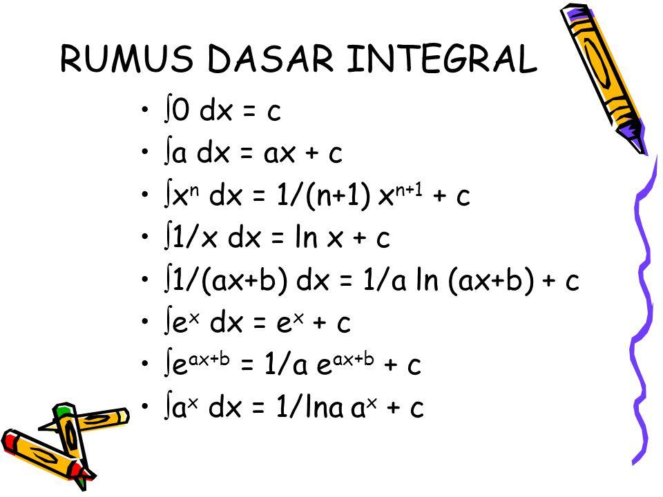 RUMUS DASAR INTEGRAL  0 dx = c  a dx = ax + c  x n dx = 1/(n+1) x n+1 + c  1/x dx = ln x + c  1/(ax+b) dx = 1/a ln (ax+b) + c  e x dx = e x + c