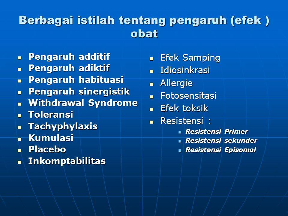 Berbagai istilah tentang pengaruh (efek ) obat Pengaruh additif Pengaruh additif Pengaruh adiktif Pengaruh adiktif Pengaruh habituasi Pengaruh habitua