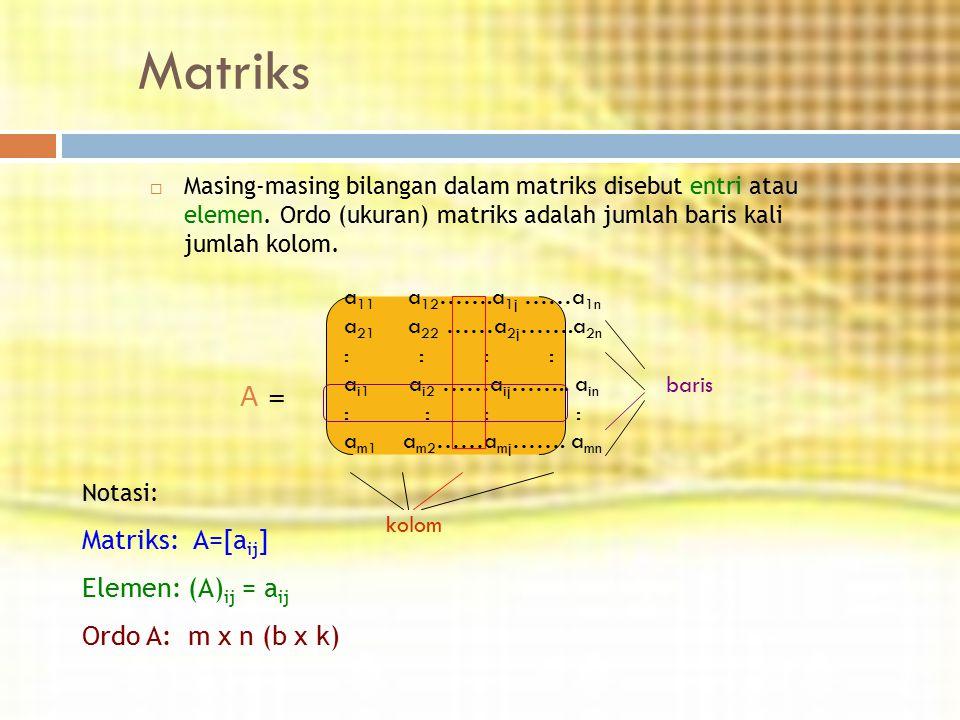 Matriks  Masing-masing bilangan dalam matriks disebut entri atau elemen. Ordo (ukuran) matriks adalah jumlah baris kali jumlah kolom. a 11 a 12 …….a