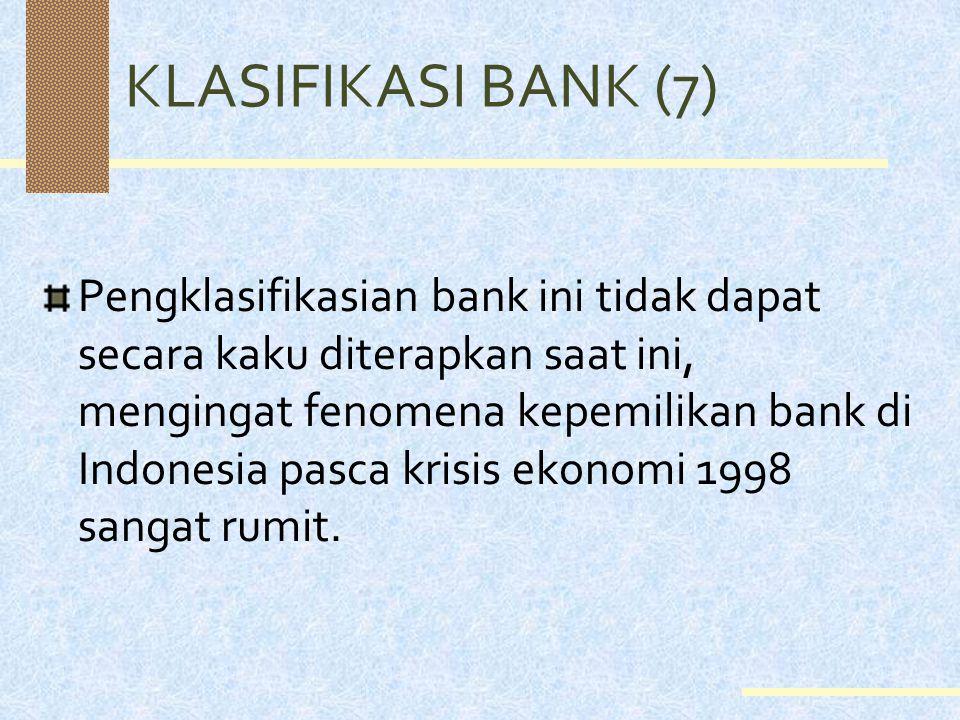 KLASIFIKASI BANK (6) Berdasarkan segi cara menentukan harga, bank diklasifikasi menjadi: 1. Bank konvensional: bank yang dalam menentukan harganya men