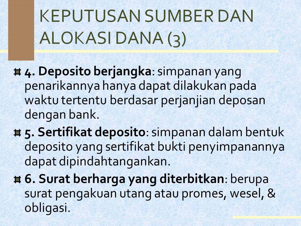 KEPUTUSAN SUMBER DAN ALOKASI DANA (2) Secara lengkap, kewajiban & modal sendiri bank umum meliputi: 1. Giro: simpanan deposan yang penarikannya dapat