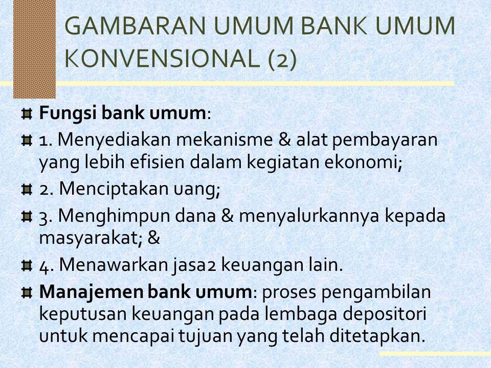 GAMBARAN UMUM BANK UMUM KONVENSIONAL (2) Fungsi bank umum: 1.
