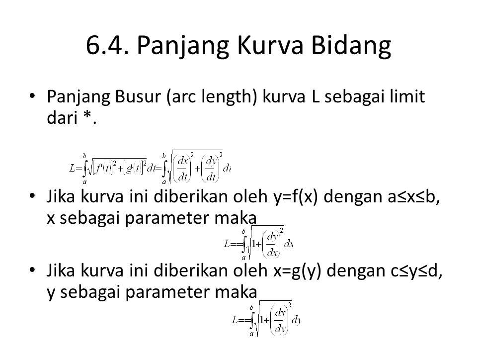 6.4. Panjang Kurva Bidang Panjang Busur (arc length) kurva L sebagai limit dari *. Jika kurva ini diberikan oleh y=f(x) dengan a≤x≤b, x sebagai parame