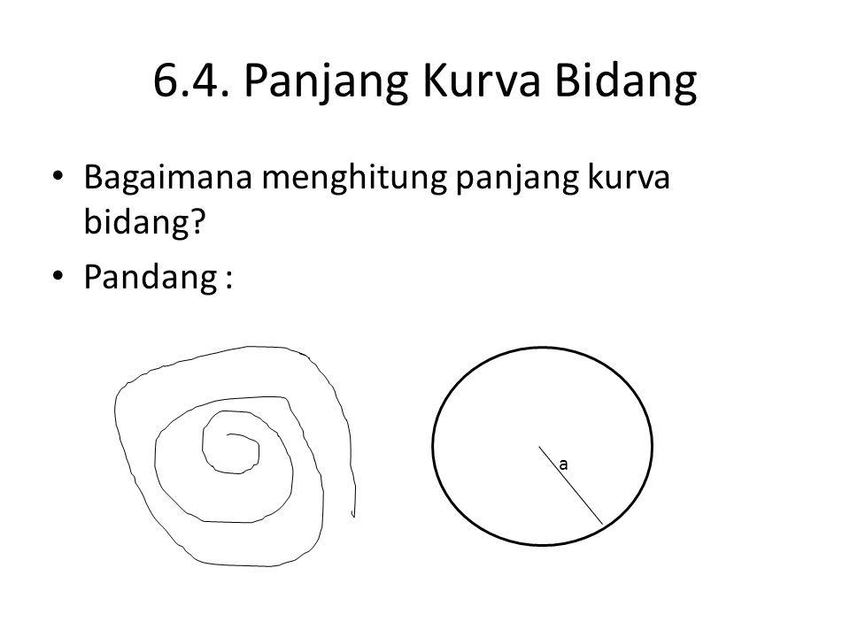 6.4. Panjang Kurva Bidang Bagaimana menghitung panjang kurva bidang? Pandang : a