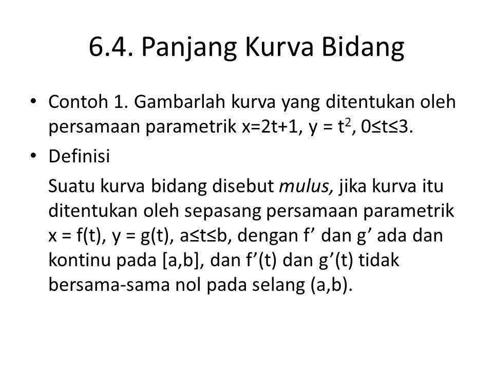 6.4. Panjang Kurva Bidang Contoh 1. Gambarlah kurva yang ditentukan oleh persamaan parametrik x=2t+1, y = t 2, 0≤t≤3. Definisi Suatu kurva bidang dise