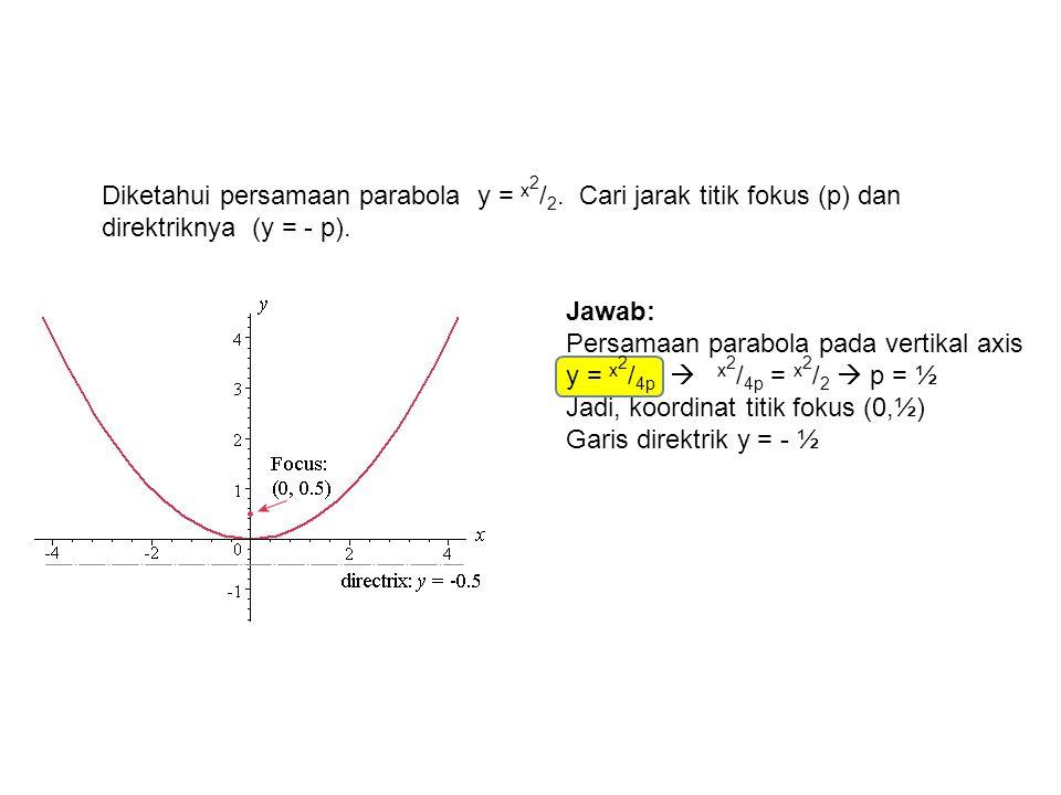 Diketahui persamaan parabola y = x 2 / 2. Cari jarak titik fokus (p) dan direktriknya (y = - p). Jawab: Persamaan parabola pada vertikal axis y = x 2