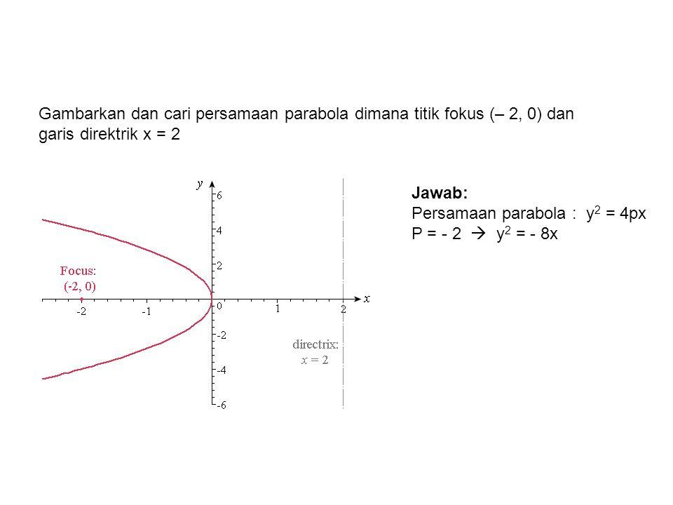 Gambarkan dan cari persamaan parabola dimana titik fokus (– 2, 0) dan garis direktrik x = 2 Jawab: Persamaan parabola : y 2 = 4px P = - 2  y 2 = - 8x