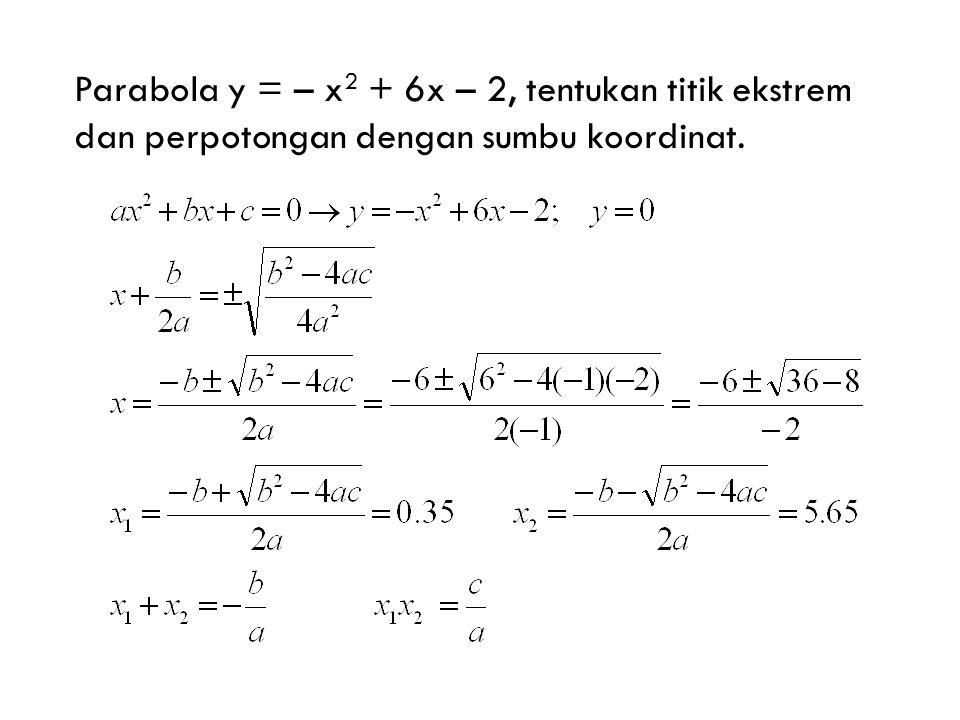 Parabola y = – x 2 + 6x – 2, tentukan titik ekstrem dan perpotongan dengan sumbu koordinat.