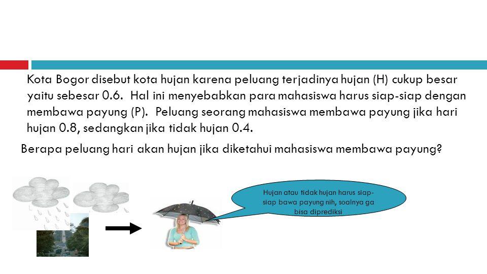 Kota Bogor disebut kota hujan karena peluang terjadinya hujan (H) cukup besar yaitu sebesar 0.6. Hal ini menyebabkan para mahasiswa harus siap-siap de