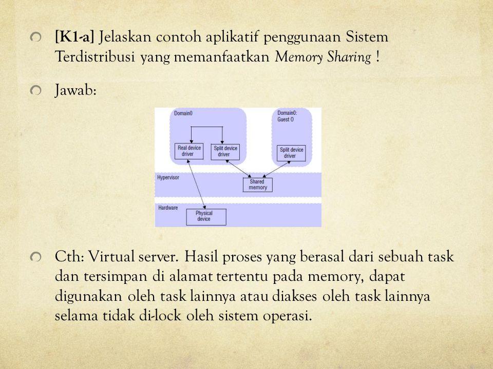 [K1-a] Jelaskan contoh aplikatif penggunaan Sistem Terdistribusi yang memanfaatkan Memory Sharing ! Jawab: Cth: Virtual server. Hasil proses yang bera