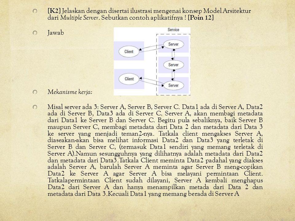 [K2] Jelaskan dengan disertai ilustrasi mengenai konsep Model Arsitektur dari Multiple Server. Sebutkan contoh aplikatifnya ! [Poin 12] Jawab Mekanism