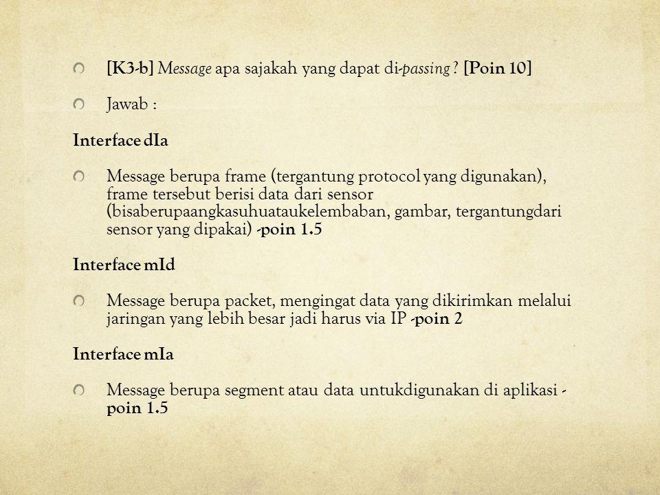 [K3-b] Message apa sajakah yang dapat di- passing ? [Poin 10] Jawab : Interface dIa Message berupa frame (tergantung protocol yang digunakan), frame t