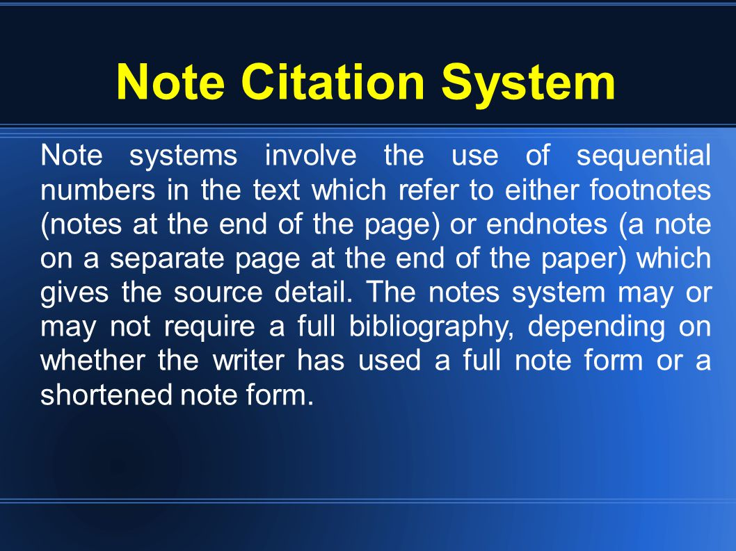 Parenthetical Citation System Parenthetical referencing also known as Harvard referencing where full or partial, in-text citations are enclosed within parentheses and embedded in the paragraph, as opposed to the footnote style.