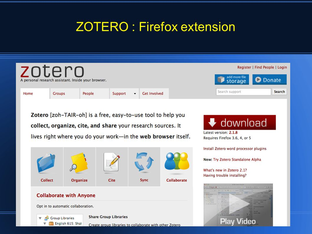 To install the Zotero Firefox extension, visit Zotero.org with Firefox and click the red download button.