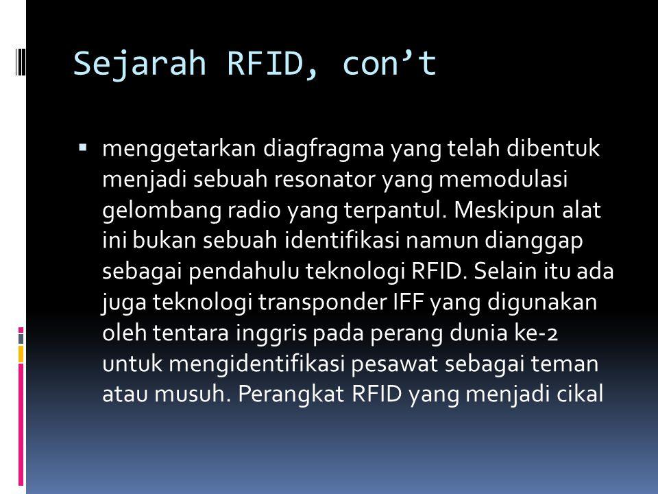 Sejarah RFID, con't  menggetarkan diagfragma yang telah dibentuk menjadi sebuah resonator yang memodulasi gelombang radio yang terpantul. Meskipun al