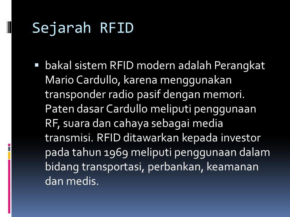 Sejarah RFID  bakal sistem RFID modern adalah Perangkat Mario Cardullo, karena menggunakan transponder radio pasif dengan memori. Paten dasar Cardull