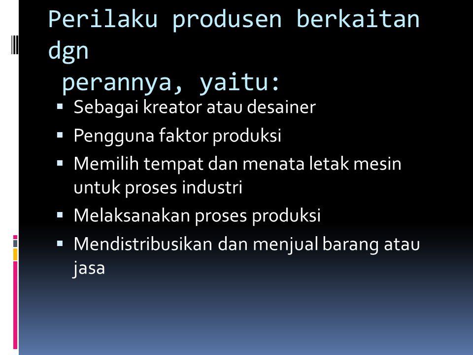 Perilaku produsen berkaitan dgn perannya, yaitu:  Sebagai kreator atau desainer  Pengguna faktor produksi  Memilih tempat dan menata letak mesin untuk proses industri  Melaksanakan proses produksi  Mendistribusikan dan menjual barang atau jasa
