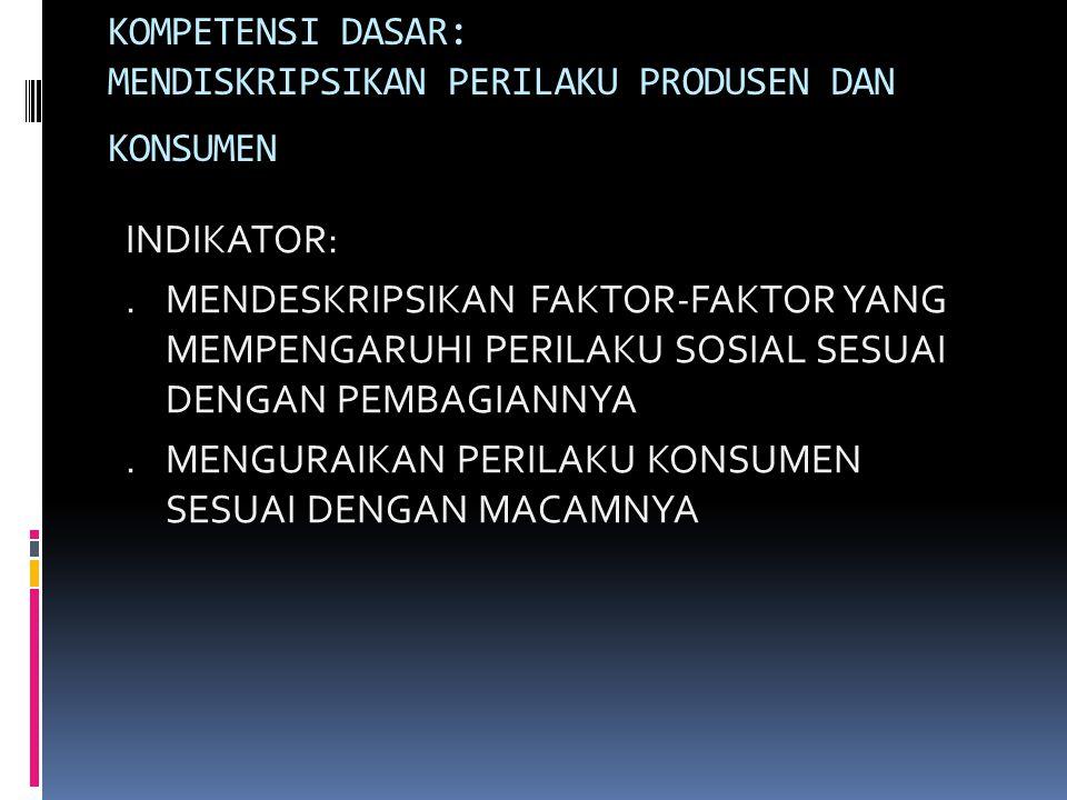 KOMPETENSI DASAR: MENDISKRIPSIKAN PERILAKU PRODUSEN DAN KONSUMEN INDIKATOR:.MENDESKRIPSIKAN FAKTOR-FAKTOR YANG MEMPENGARUHI PERILAKU SOSIAL SESUAI DEN