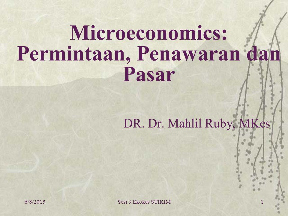 6/8/2015Sesi 3 Ekokes STIKIM1 Microeconomics: Permintaan, Penawaran dan Pasar DR. Dr. Mahlil Ruby, MKes
