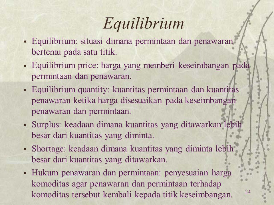 Equilibrium 24 Equilibrium: situasi dimana permintaan dan penawaran bertemu pada satu titik. Equilibrium price: harga yang memberi keseimbangan pada p