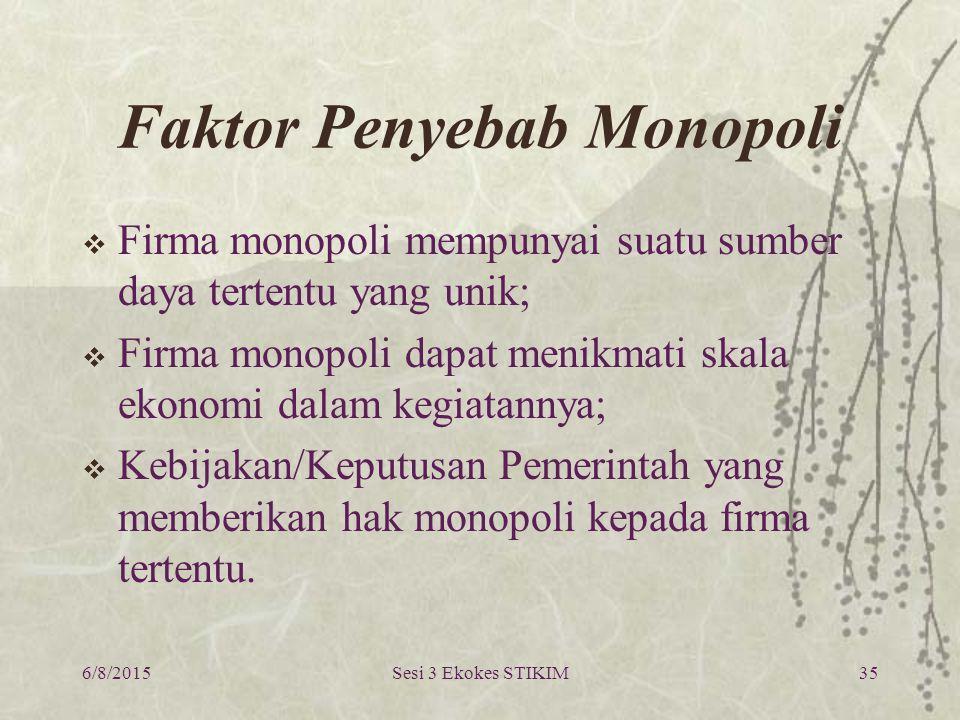 6/8/2015Sesi 3 Ekokes STIKIM35 Faktor Penyebab Monopoli  Firma monopoli mempunyai suatu sumber daya tertentu yang unik;  Firma monopoli dapat menikm