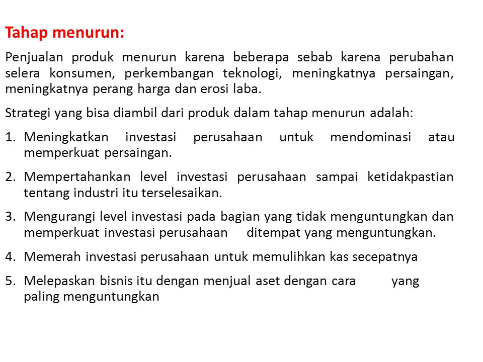 TABEL STRATEGI PRODUCT LIFE CYCLE