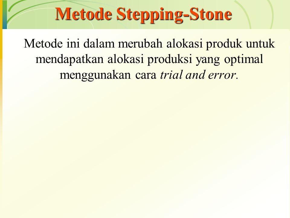 Metode ini dalam merubah alokasi produk untuk mendapatkan alokasi produksi yang optimal menggunakan cara trial and error. Metode Stepping-Stone