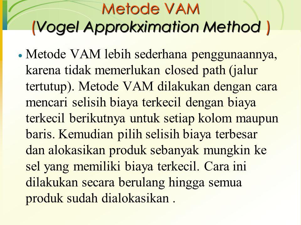 Metode VAM (Vogel Approkximation Method )  Metode VAM lebih sederhana penggunaannya, karena tidak memerlukan closed path (jalur tertutup). Metode VAM