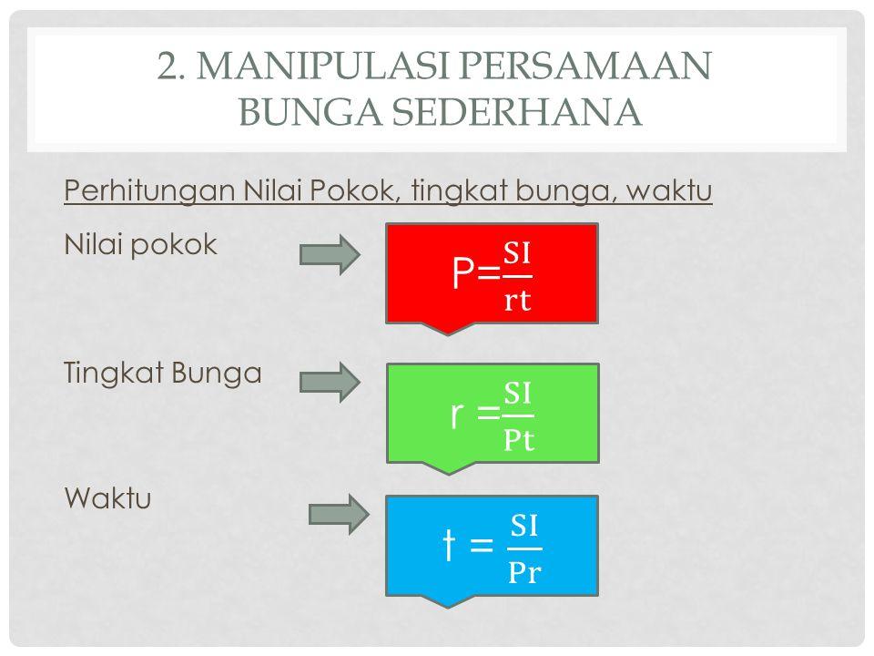 2. MANIPULASI PERSAMAAN BUNGA SEDERHANA Perhitungan Nilai Pokok, tingkat bunga, waktu Nilai pokok Tingkat Bunga Waktu