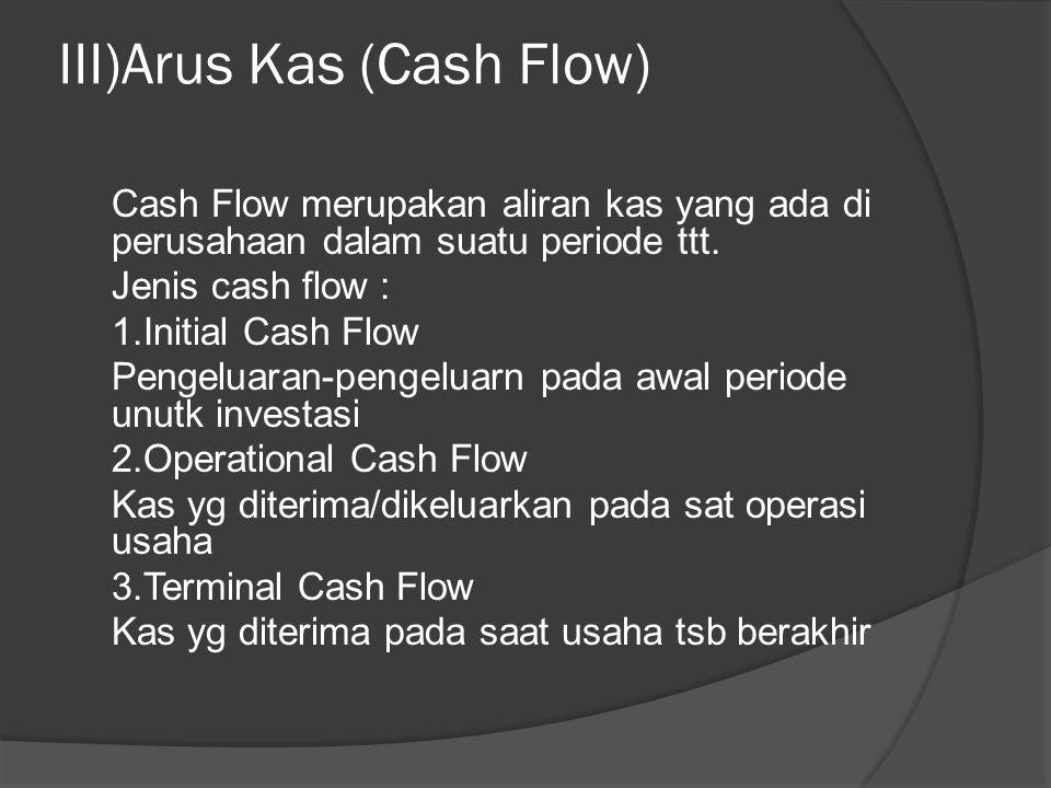 III)Arus Kas (Cash Flow) Cash Flow merupakan aliran kas yang ada di perusahaan dalam suatu periode ttt. Jenis cash flow : 1.Initial Cash Flow Pengelua