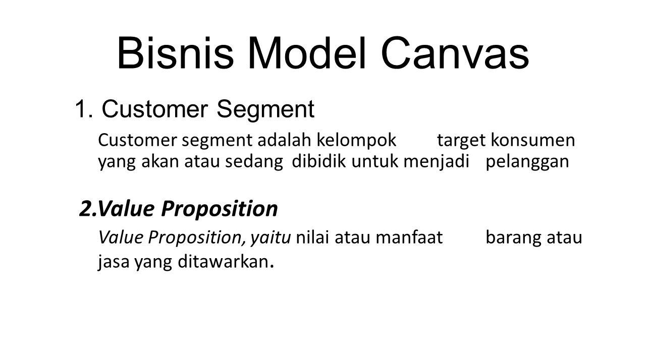 Bisnis Model Canvas 1. Customer Segment Customer segment adalah kelompok target konsumen yang akan atau sedang dibidik untuk menjadi pelanggan 2.Value