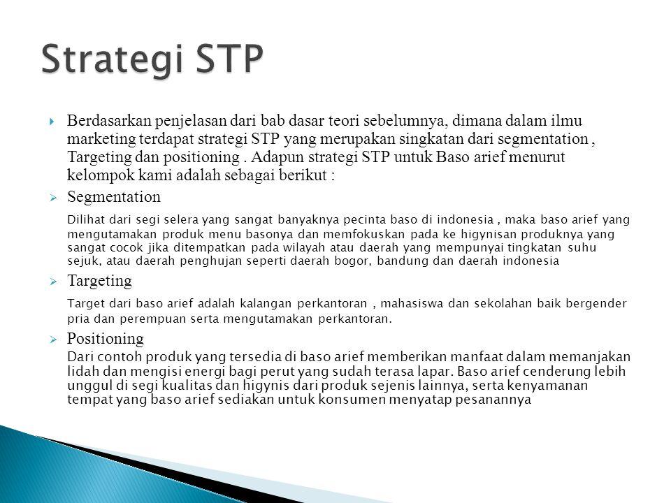  Berdasarkan penjelasan dari bab dasar teori sebelumnya, dimana dalam ilmu marketing terdapat strategi STP yang merupakan singkatan dari segmentation