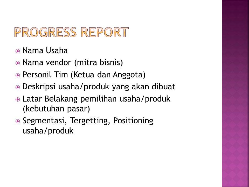  Wilayah pemasaran/penjualan  Strategi pemasaran (harga, cara memasarkan + promosi)  Data penjualan + Lap Keuangan  Kendala yang dihadapi dan solusi (produksi, pemasaran, keuangan, manajemen)  Tugas dan Tanggung jawab anggota
