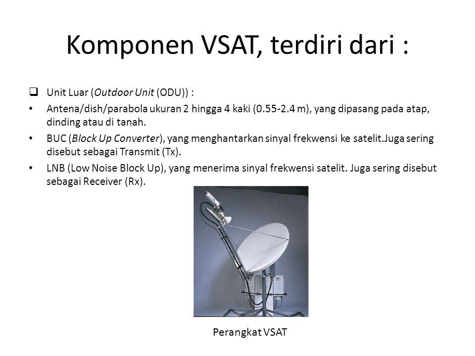 Komponen VSAT, terdiri dari :  Unit Luar (Outdoor Unit (ODU)) : Antena/dish/parabola ukuran 2 hingga 4 kaki (0.55-2.4 m), yang dipasang pada atap, di