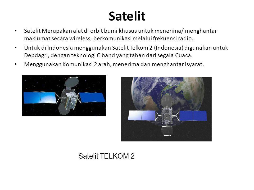Satelit Satelit Merupakan alat di orbit bumi khusus untuk menerima/ menghantar maklumat secara wireless, berkomunikasi melalui frekuensi radio. Untuk