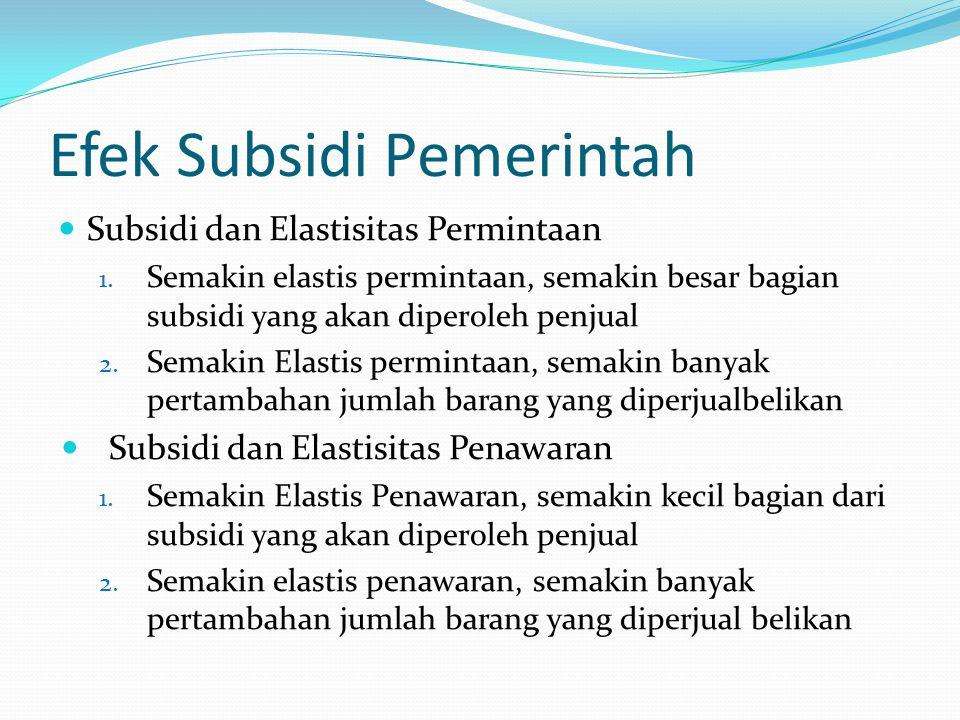Efek Subsidi Pemerintah Subsidi dan Elastisitas Permintaan 1. Semakin elastis permintaan, semakin besar bagian subsidi yang akan diperoleh penjual 2.