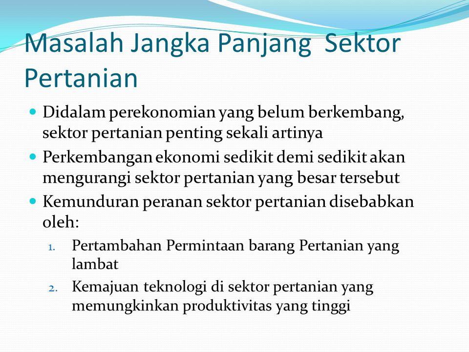 Masalah Jangka Panjang Sektor Pertanian Didalam perekonomian yang belum berkembang, sektor pertanian penting sekali artinya Perkembangan ekonomi sedik