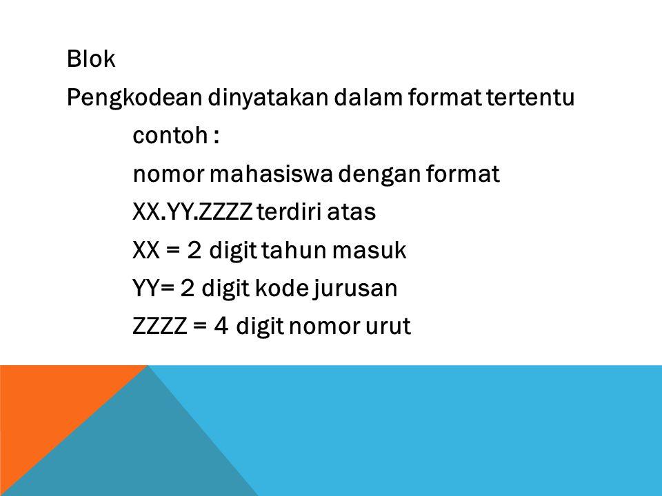 Blok Pengkodean dinyatakan dalam format tertentu contoh : nomor mahasiswa dengan format XX.YY.ZZZZ terdiri atas XX = 2 digit tahun masuk YY= 2 digit k