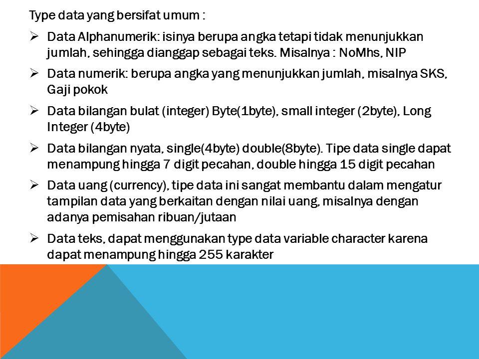 Type data yang bersifat umum :  Data Alphanumerik: isinya berupa angka tetapi tidak menunjukkan jumlah, sehingga dianggap sebagai teks. Misalnya : No