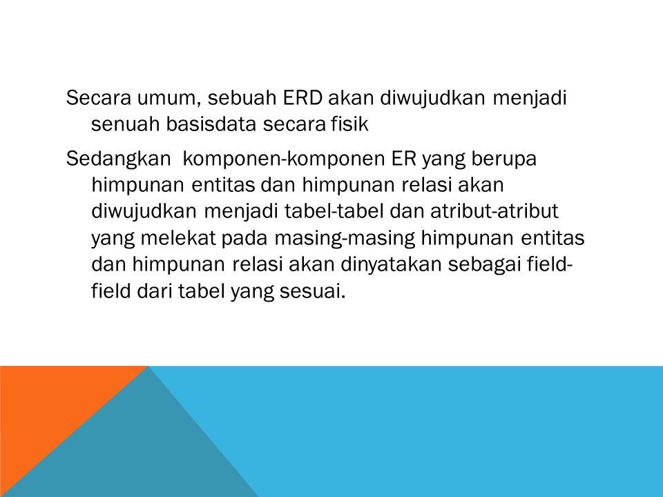 Secara umum, sebuah ERD akan diwujudkan menjadi senuah basisdata secara fisik Sedangkan komponen-komponen ER yang berupa himpunan entitas dan himpunan