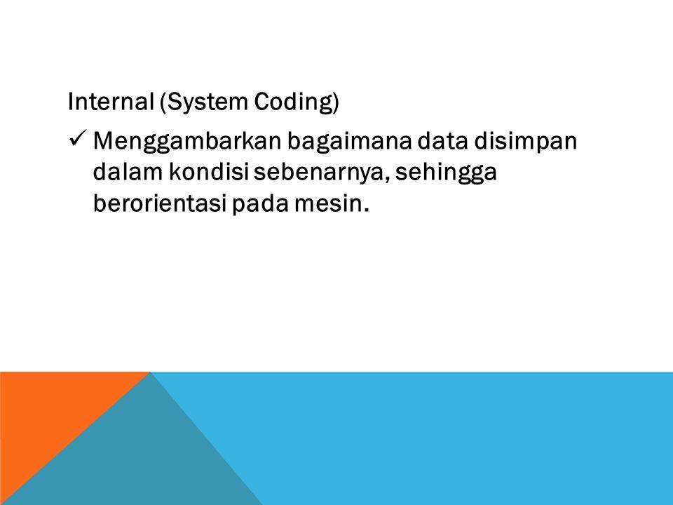 Internal (System Coding) Menggambarkan bagaimana data disimpan dalam kondisi sebenarnya, sehingga berorientasi pada mesin.