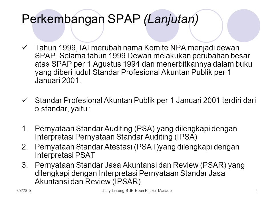 6/8/2015Jerry Lintong-STIE Eben Haezer Manado4 Perkembangan SPAP (Lanjutan) Tahun 1999, IAI merubah nama Komite NPA menjadi dewan SPAP. Selama tahun 1