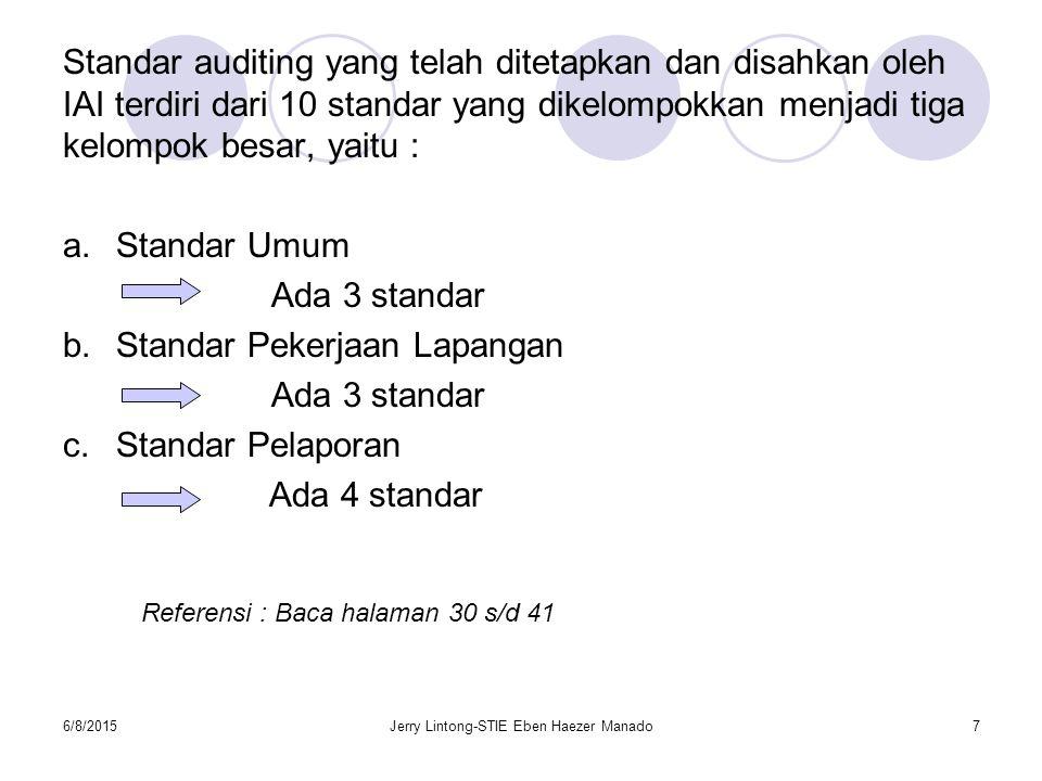6/8/2015Jerry Lintong-STIE Eben Haezer Manado7 Standar auditing yang telah ditetapkan dan disahkan oleh IAI terdiri dari 10 standar yang dikelompokkan