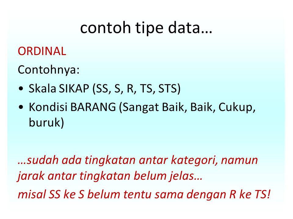 contoh tipe data… ORDINAL Contohnya: Skala SIKAP (SS, S, R, TS, STS) Kondisi BARANG (Sangat Baik, Baik, Cukup, buruk) …sudah ada tingkatan antar kategori, namun jarak antar tingkatan belum jelas… misal SS ke S belum tentu sama dengan R ke TS!