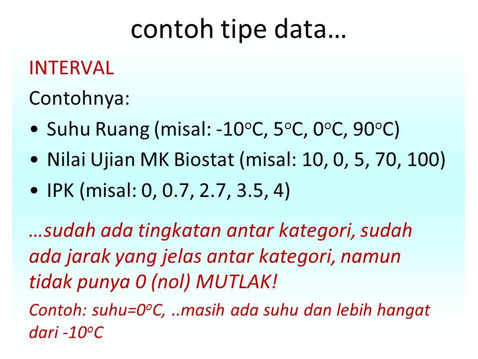 contoh tipe data… INTERVAL Contohnya: Suhu Ruang (misal: -10 o C, 5 o C, 0 o C, 90 o C) Nilai Ujian MK Biostat (misal: 10, 0, 5, 70, 100) IPK (misal: 0, 0.7, 2.7, 3.5, 4) …sudah ada tingkatan antar kategori, sudah ada jarak yang jelas antar kategori, namun tidak punya 0 (nol) MUTLAK.