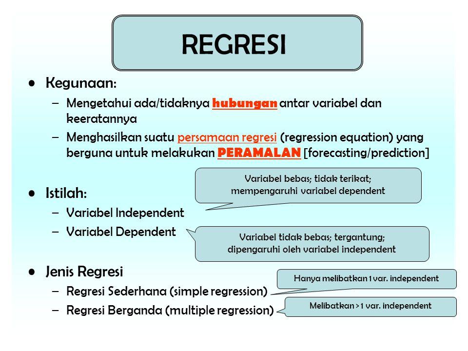 REGRESI Kegunaan: –Mengetahui ada/tidaknya hubungan antar variabel dan keeratannya –Menghasilkan suatu persamaan regresi (regression equation) yang berguna untuk melakukan PERAMALAN [forecasting/prediction] Istilah: –Variabel Independent –Variabel Dependent Jenis Regresi –Regresi Sederhana (simple regression) –Regresi Berganda (multiple regression) Variabel bebas; tidak terikat; mempengaruhi variabel dependent Variabel tidak bebas; tergantung; dipengaruhi oleh variabel independent Hanya melibatkan 1 var.