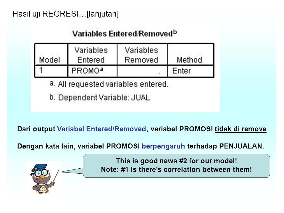 Hasil uji REGRESI…[lanjutan] Dari output Variabel Entered/Removed, variabel PROMOSI tidak di remove Dengan kata lain, variabel PROMOSI berpengaruh terhadap PENJUALAN.