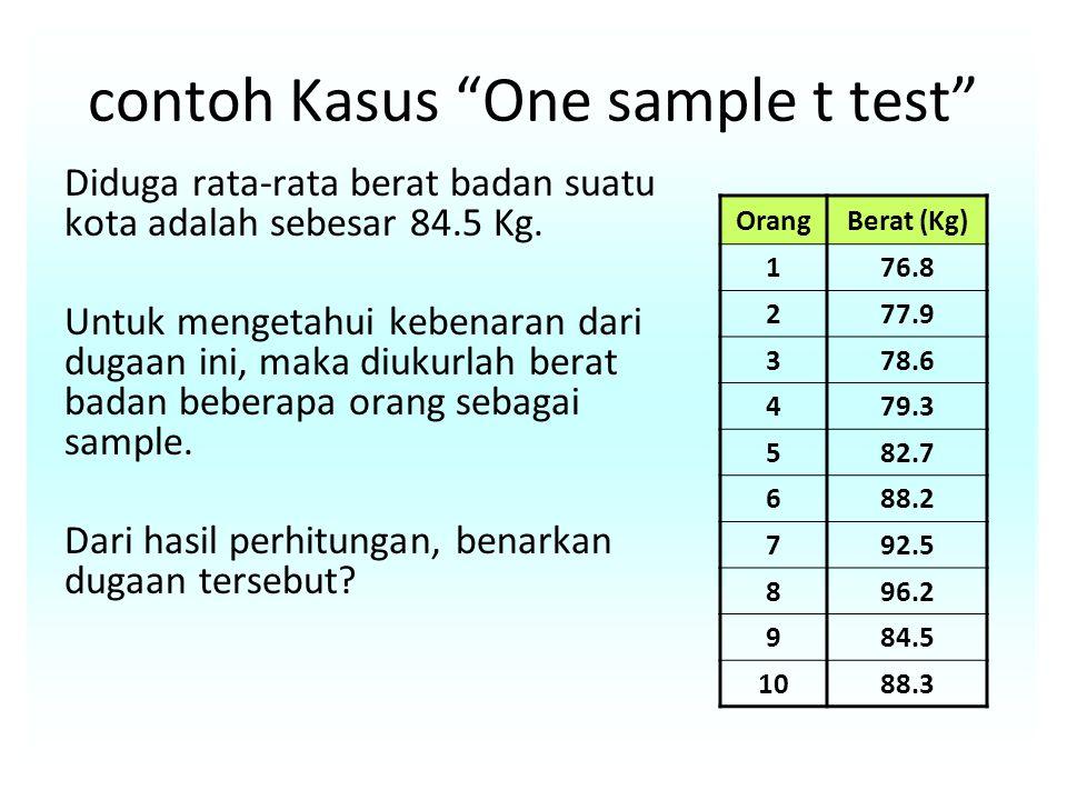 contoh Kasus One sample t test Diduga rata-rata berat badan suatu kota adalah sebesar 84.5 Kg.
