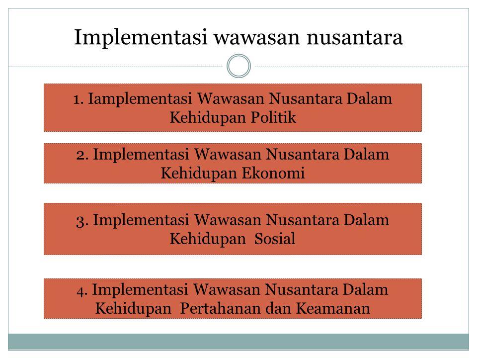 Implementasi wawasan nusantara 1. Iamplementasi Wawasan Nusantara Dalam Kehidupan Politik 2.
